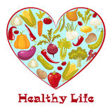 Healthy life. Cartoon style heart with healthy vegitables. Vector illustration Stock Photography
