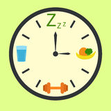 Healthy life concept with clock illustration Stock Photos