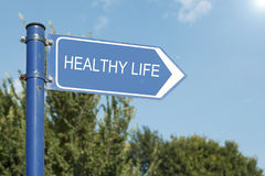 Healthy Life Concept Directional Signpost Stock Photography