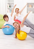 Healthy life concept with exercising people Stock Photo