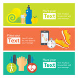 Healthy life concept flat banners of jogging, gym, healthy food, metrics. Stock Image