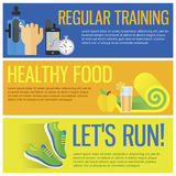 Healthy life concept flat banners of jogging, gym. Isolated vector illustration and modern design element Stock Photos