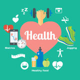 Healthy life concept flat icons of jogging, gym, healthy food, metrics. Stock Photos
