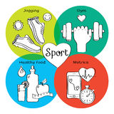 Healthy life concept handdrawn icons of jogging, gym, healthy food, metrics. Stock Image