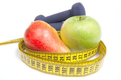 Healthy life concept - nutrition and exercising Royalty Free Stock Photos