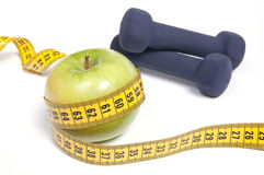 Healthy life concept - nutrition and exercising Stock Photos