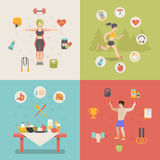 Healthy life concept vector illustration set peopl Royalty Free Stock Photography