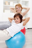 Healthy life - exercising at home Royalty Free Stock Photo