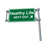 Healthy life Freeway Exit Sign highway street Royalty Free Stock Image