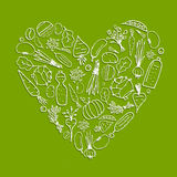 Healthy life - heart shape with vegetables Stock Photography