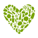 Healthy Life - Heart Shape With Vegetables Stock Images