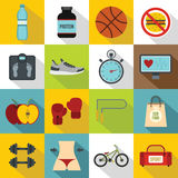 Healthy life icons set, flat style Royalty Free Stock Image