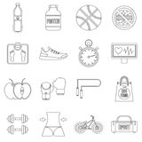 Healthy life icons set, outline style Stock Images