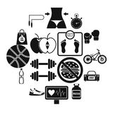 Healthy life icons set, simple style. Healthy life icons set. Simple illustration of 16 healthy life travel vector icons for web Royalty Free Stock Photos
