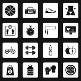 Healthy life icons set squares vector Stock Photos