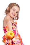 Healthy life invitation girl with apple Royalty Free Stock Images