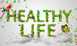 Healthy Life leaves particles 3D. Digital art Stock Images