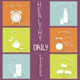 Healthy daily life modern flat hand drawn icons on purple. Vector illustration Stock Photo
