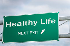 Healthy Life Next exit, Creative Sign Stock Images
