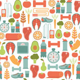 Healthy life pattern. Seamless background with healthy life icons Stock Photo