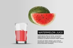 Glass of watermelon juice. Vector realistic illustration. royalty free illustration