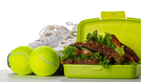 Healthy Life Sport Concept. Sneakers with Tennis Balls, Towel, A Royalty Free Stock Images