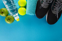 Healthy Life Sport Concept. Sneakers with Tennis Balls, Towel an Royalty Free Stock Photos
