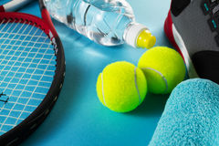 Healthy Life Sport Concept. Sneakers with Tennis Balls, Towel an Stock Photos