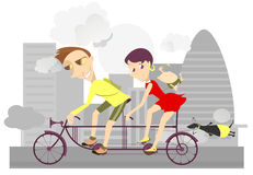 Healthy life-style family 2. Man, woman and their baby are traveling by bike Royalty Free Stock Photos
