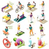 Healthy Life Style Isometric Icons stock illustration