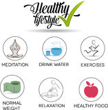 Healthy life symbol. Set. Healthy food, exercises, normal weight, drinking more water, relaxation and meditation. Isolated on a white background Royalty Free Stock Image
