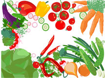 Healthy life, vector vegetables Stock Photo