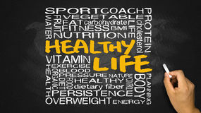 Healthy life word cloud handwritten on blackboard royalty free stock photos