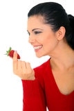 Healthy Lifestyle. Healthy eating concept. young woman holding strawberry. isolated on white stock photo