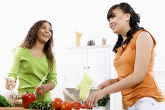 Healthy Lifestyle. Stock image of two young women in kitchen preparing a salad Stock Photos