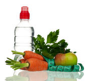 Healthy lifestyle. Healthy food and bottle of water isolated over white Stock Photography