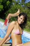 Healthy lifestyle. Young woman at the swimming pool Stock Photos
