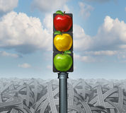 Healthy Lifestyle. Advice and eat healthy concept as traffic lights with green yellow and red apples on a background of tangled confused roads as direction Stock Photos