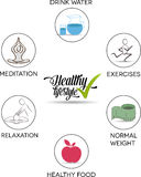 Healthy lifestyle advices symbols Stock Image
