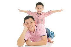 Healthy lifestyle of asian family Stock Photos