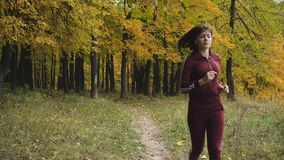 Healthy lifestyle. athletic girl running in the Park and doing exercises Jogging. stock footage