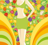 Healthy lifestyle background. Harmonous female figure on a bright background with images of vegetables and fruit Royalty Free Stock Image