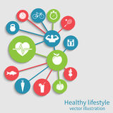 Healthy lifestyle background. Concept health, sport. Vector illustration Stock Images