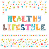 Healthy lifestyle background. Hand drawn lettering  Royalty Free Stock Photo