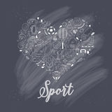 Healthy Lifestyle Background, I love sport, hand drawn doodle set Stock Photography