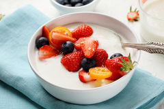 Healthy Lifestyle Banana Smothie Bowl With Berry Stock Photo