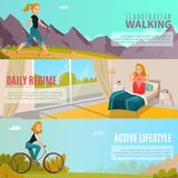 Healthy Lifestyle Banners Royalty Free Stock Photos