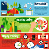 Healthy lifestyle banners Stock Photo