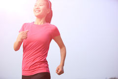 Healthy lifestyle beautiful asian woman running Royalty Free Stock Images