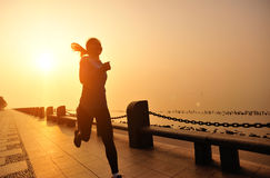 Healthy lifestyle beautiful asian woman running Stock Photography